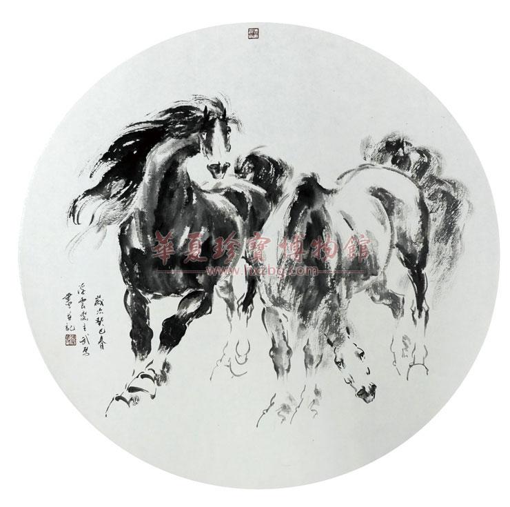 圆形油画框国画简易图片动物