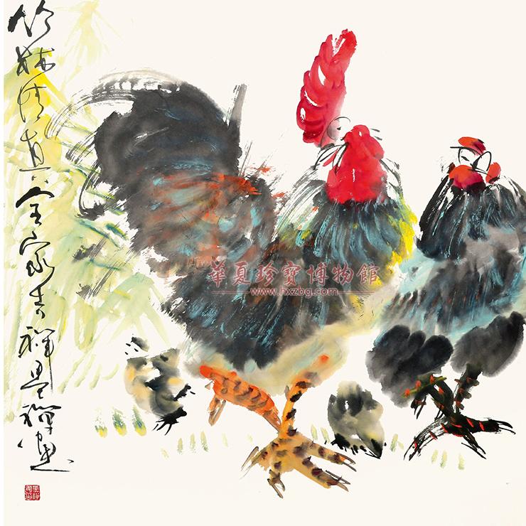 纵横奔放,而又有趣味盎然的感觉, 在他绘制的写意画中,多以花,鸟,鱼